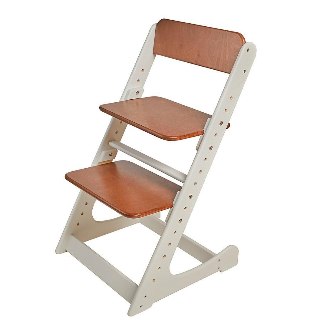 Растущий стул, бело-темно-ореховый