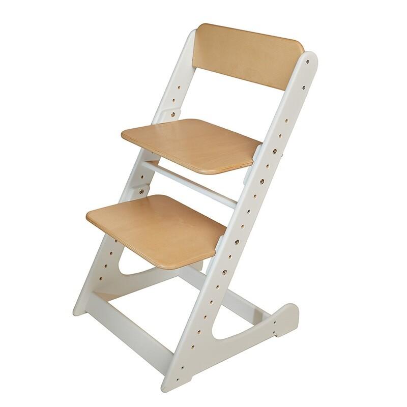 Растущий стул, бело-ореховый