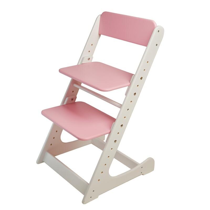 Растущий стул, бело-розовый