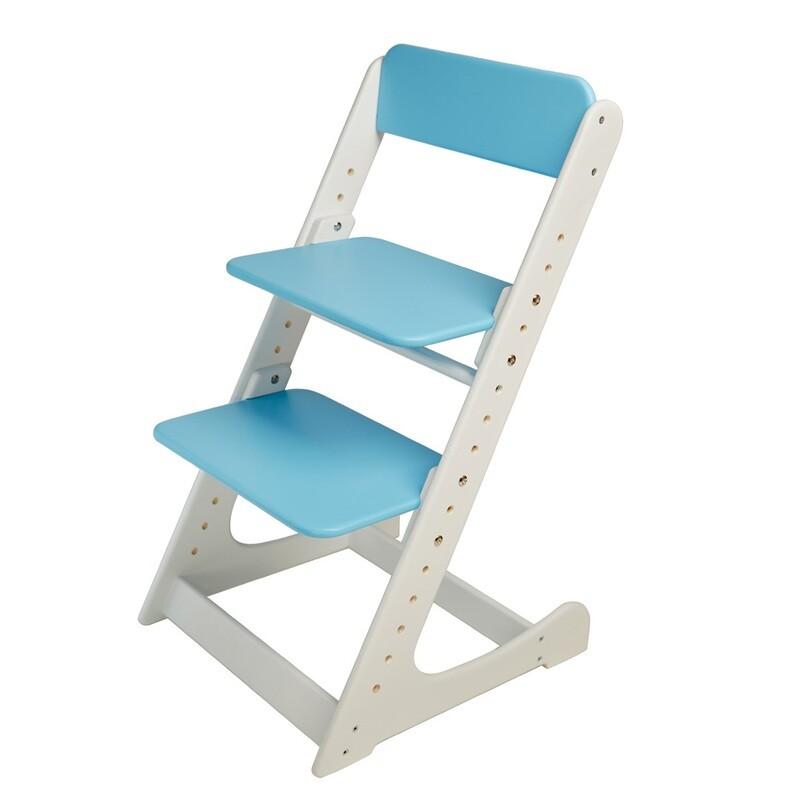 Растущий стул, бело-голубой