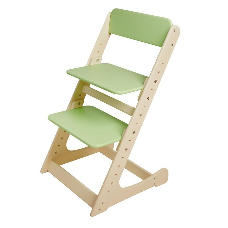Растущий стул, кремово-салатовый