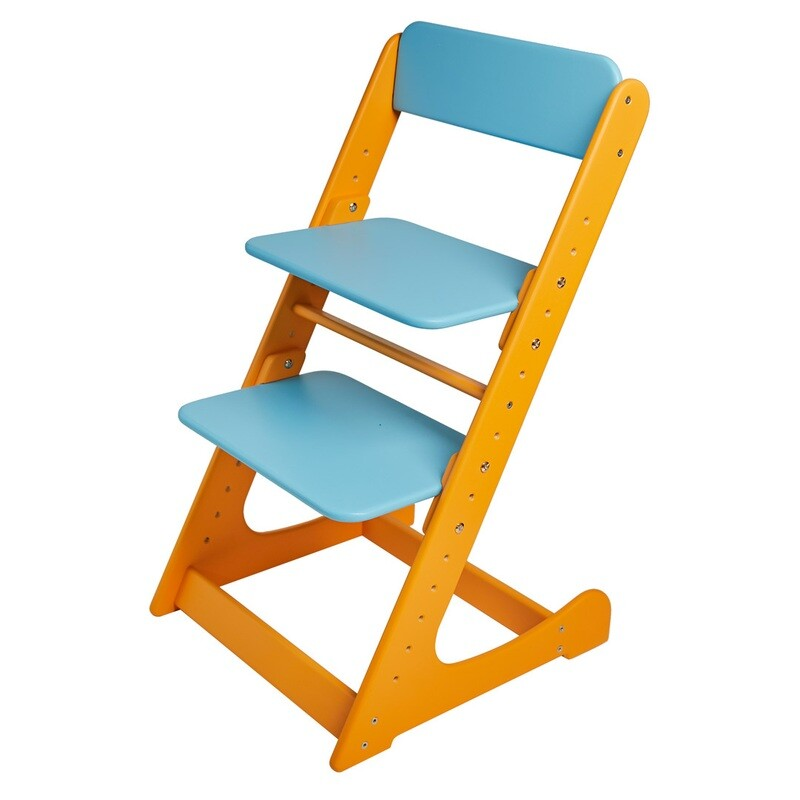 Растущий стул, оранжево-голубой