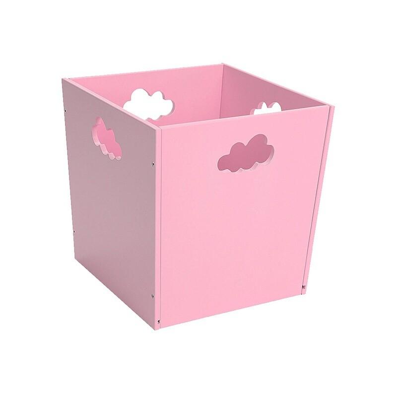 Деревянный ящик для игрушек с облачком, розовый