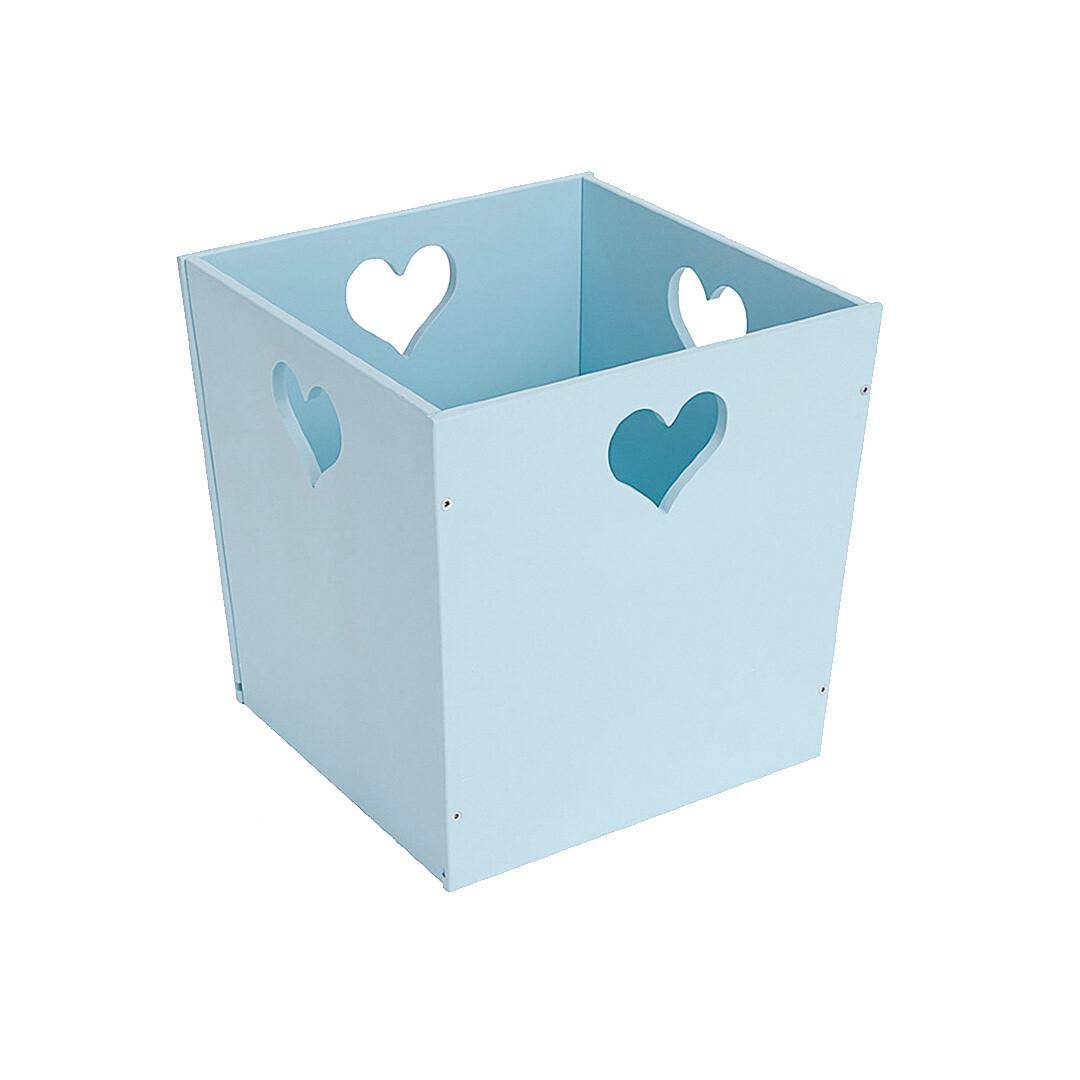 Деревянный ящик для игрушек с сердечком, голубой