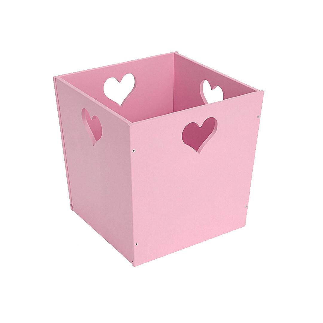 Деревянный ящик для игрушек с сердечком, розовый
