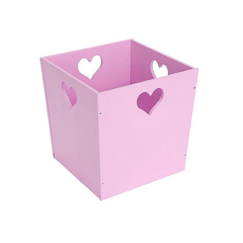Деревянный ящик для игрушек с сердечком, фиолетовый