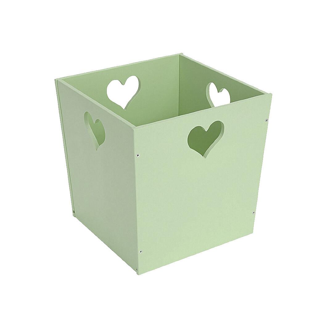 Деревянный ящик для игрушек с сердечком, салатовый