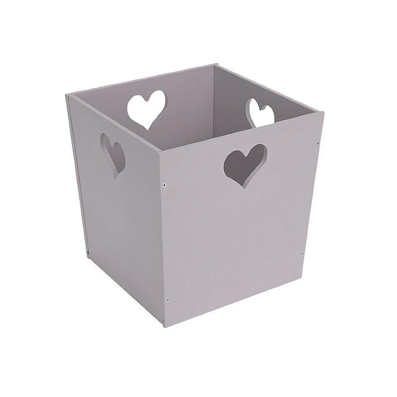 Деревянный ящик для игрушек с сердечком, серый