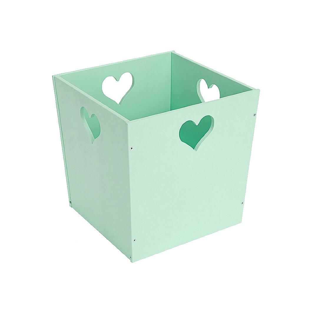 Деревянный ящик для игрушек с сердечком, мятный