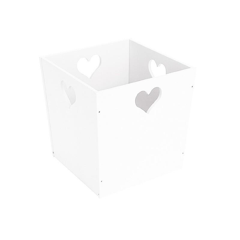 Деревянный ящик для игрушек с сердечком, белый