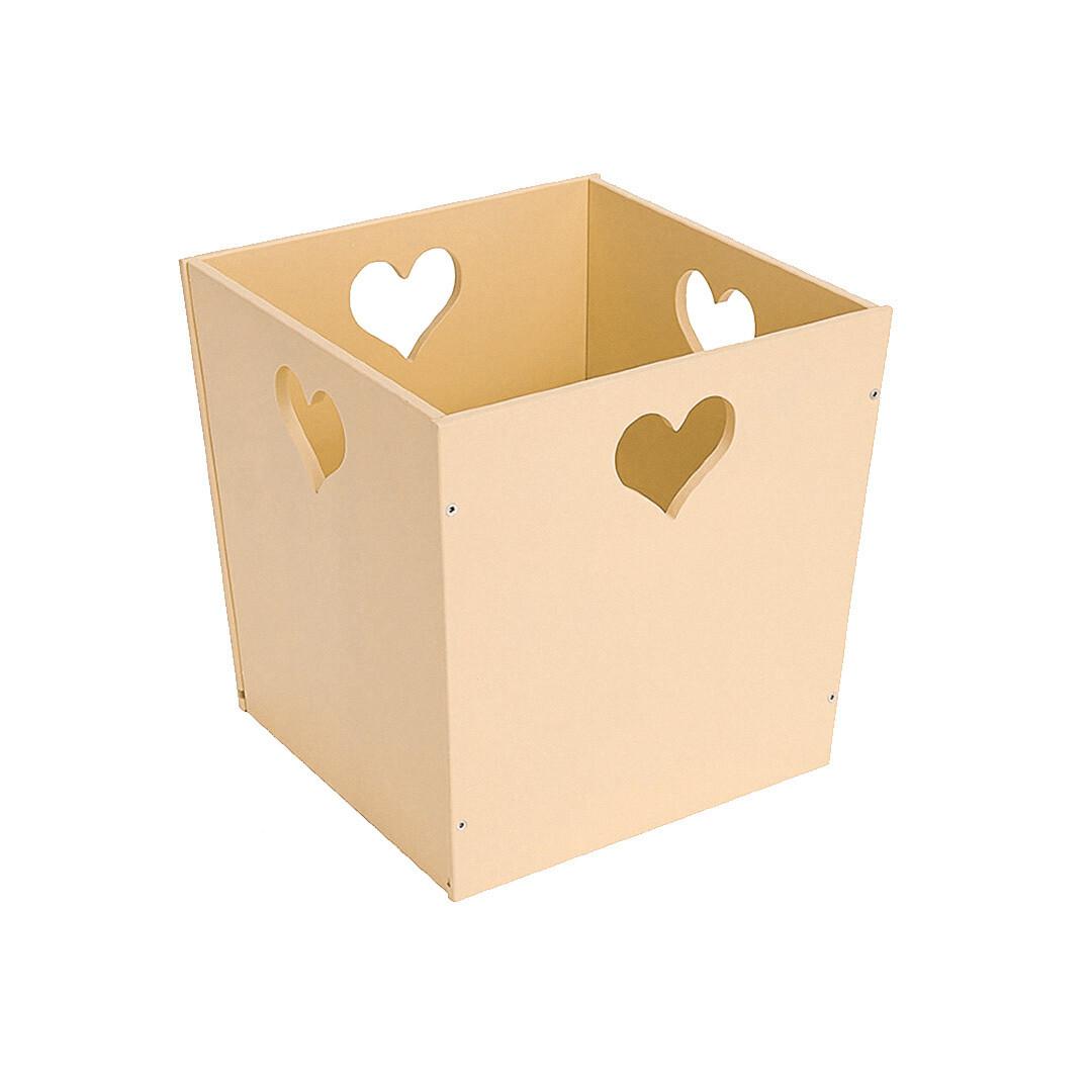 Деревянный ящик для игрушек с сердечком, кремовый
