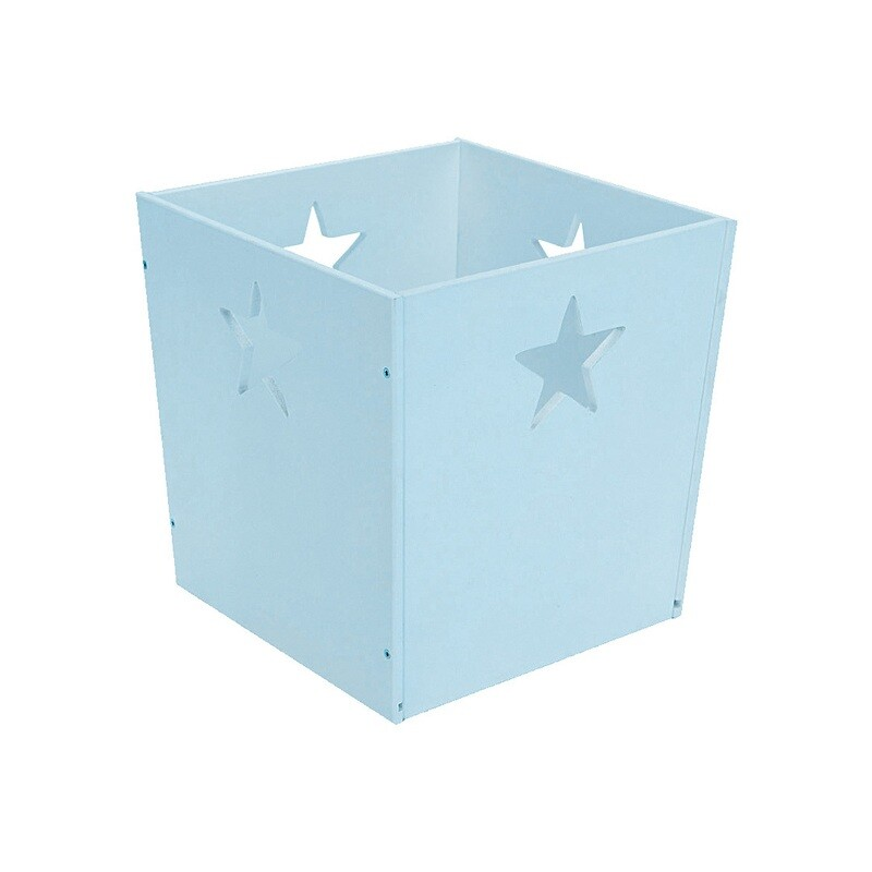 Деревянный ящик для игрушек со звездочкой, голубой