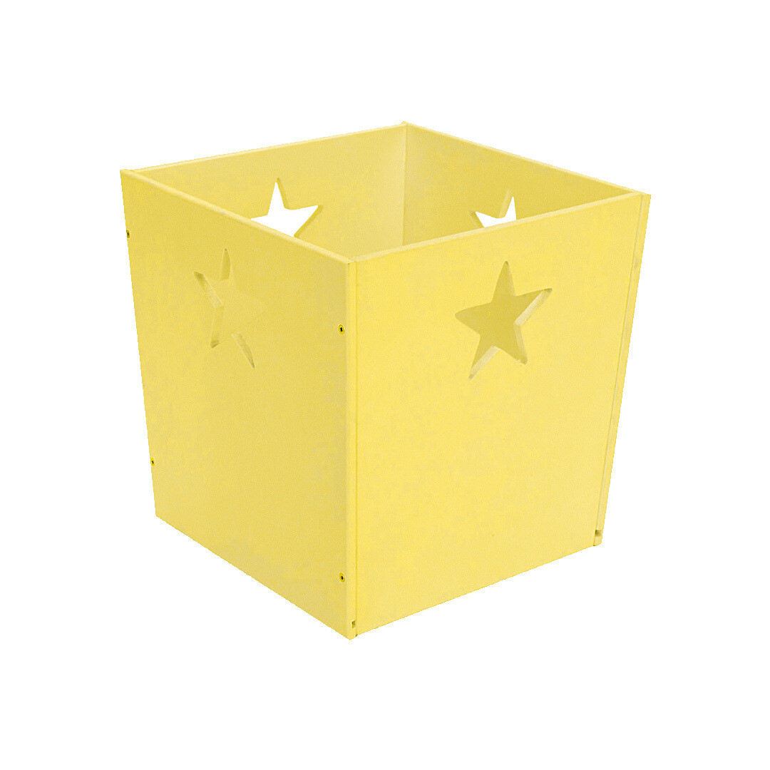 Деревянный ящик для игрушек со звездочкой, желтый