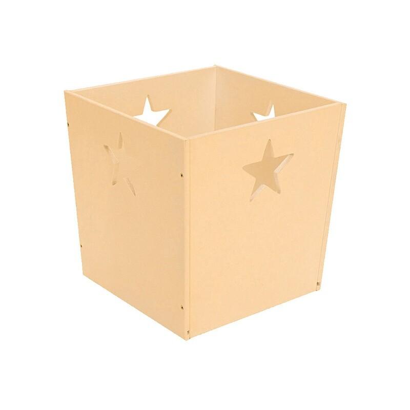 Деревянный ящик для игрушек со звездочкой, кремовый