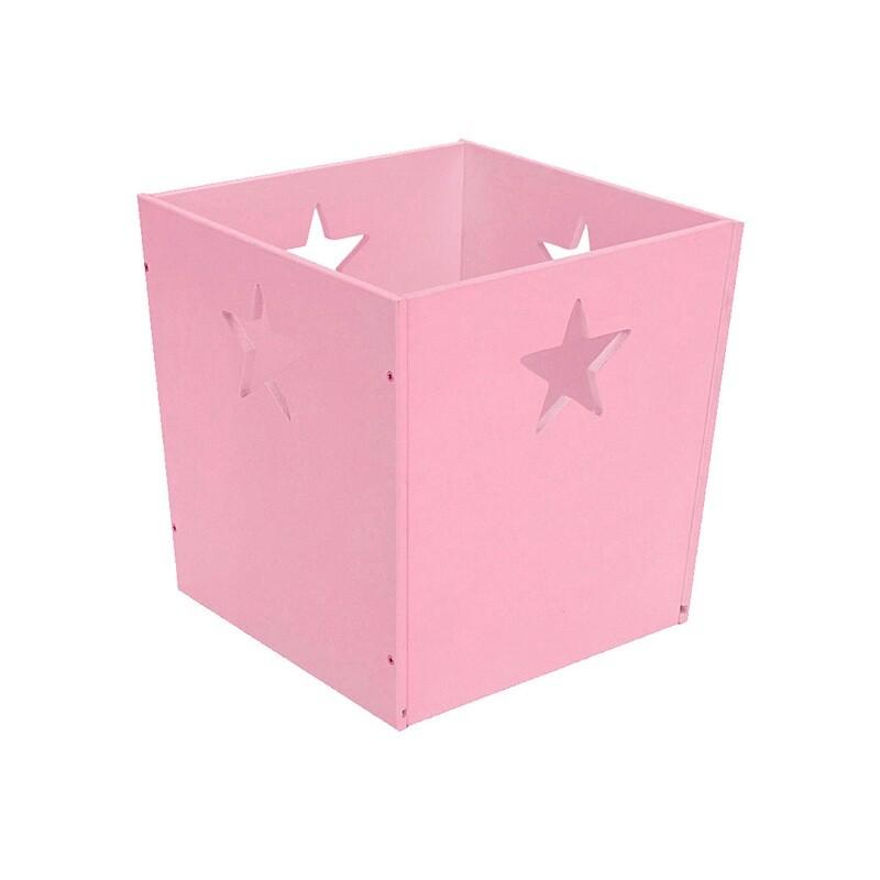 Деревянный ящик для игрушек со звездочкой, розовый