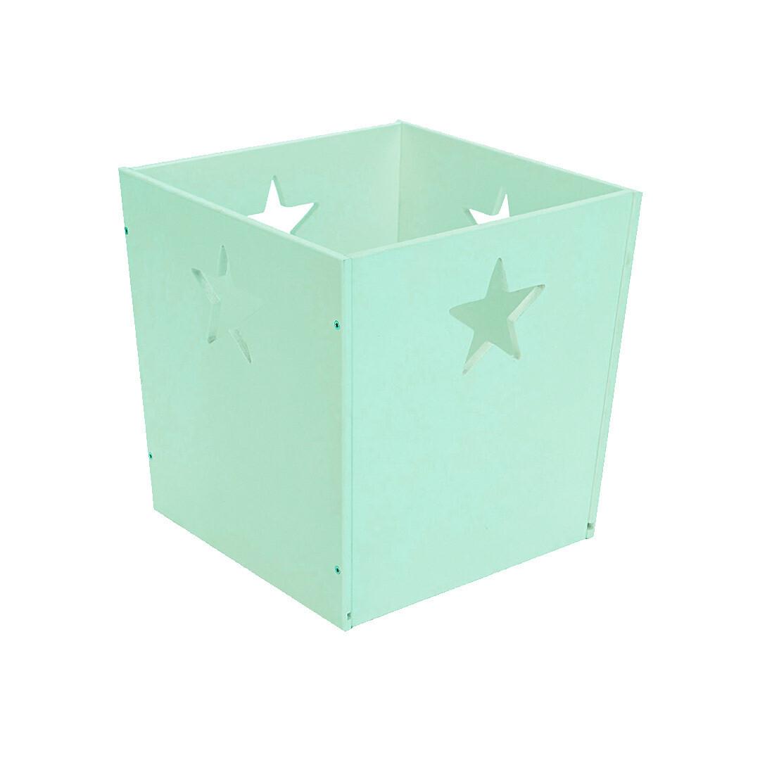 Деревянный ящик для игрушек со звездочкой, мятный