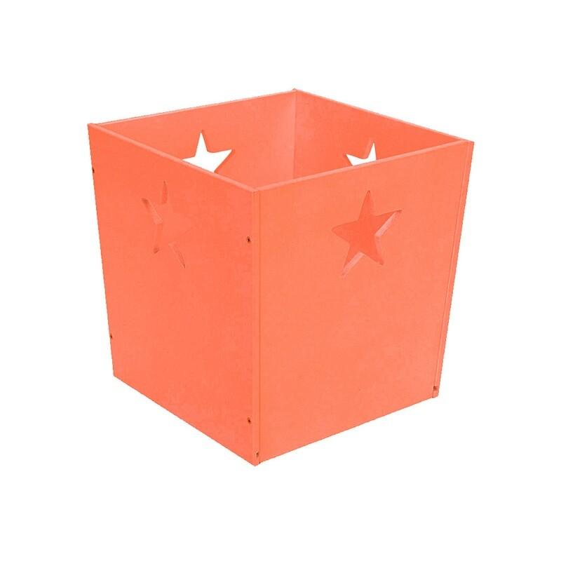 Деревянный ящик для игрушек со звездочкой, оранжевый