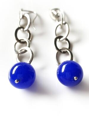 Orecchini in argento agata blu