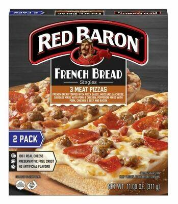Frozen Pizza, Red Baron® French Bread 3 Meat Pizzas (11 oz Box, 2 Pizzas)
