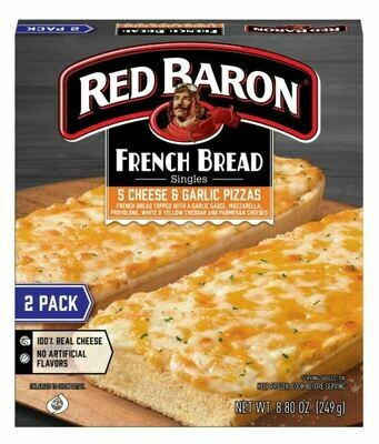 Frozen Pizza, Red Baron® French Bread 5 Cheese & Garlic Pizzas (8.8 oz Box, 2 Pizzas)