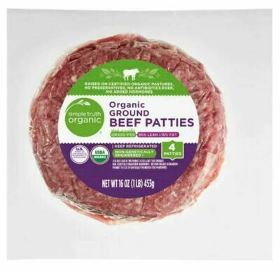 Beef, Simple Truth Organic® Grass-Fed 85% Lean Ground Beef Patties (16 oz Package)