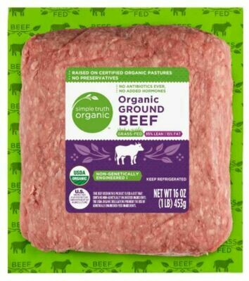 Beef, Simple Truth Organic™ Grass Fed Ground Beef 85% Lean (16 oz Package)