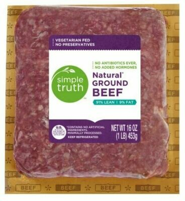 Beef, Simple Truth™ Natural Ground Beef 91% Lean (16 oz Package)