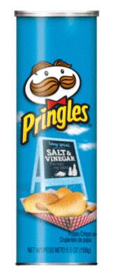 Potato Chips, Pringles® Salt & Vinegar Potato Chips (5.5 oz Can)