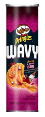 Potato Chips, Pringles® Wavy Sweet & Spicy BBQ Chips (4.5 oz Can)