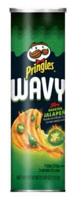 Potato Chips, Pringles® Wavy Fire Roasted Jalapeño Potato Chips (4.5 oz Can)