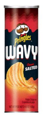 Potato Chips, Pringles® Wavy Salted Potato Chips (4.5 oz Can)