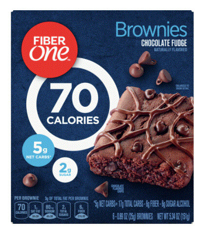 Cereal Bars, General Mills® Fiber One® 70 Calorie Chocolate Fudge Brownies (6 Count, 5.34 oz Box)