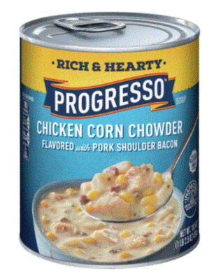 Canned Soup, Progresso® Rich & Hearty® Chicken Corn Chowder Soup (18.5 oz Can)