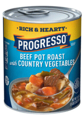Canned Soup, Progresso® Rich & Hearty® Beef Pot Roast with Country Vegetables Soup (18.5 oz Can)