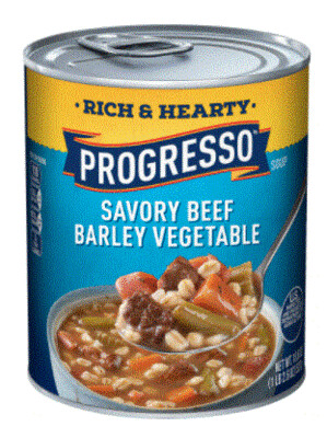 Canned Soup, Progresso® Rich & Hearty® Savory Beef Barley Vegetable Soup (18.5 oz Can)