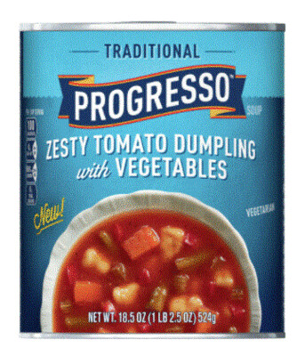 Canned Soup, Progresso® Traditional® Zesty Tomato Dumpling with Vegetables Soup (18.5 oz Can)