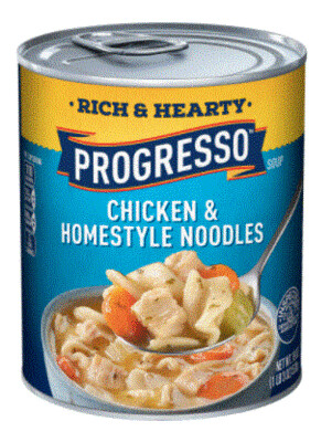 Canned Soup, Progresso® Rich & Hearty® Chicken & Homestyle Noodles Soup (18.5 oz Can)