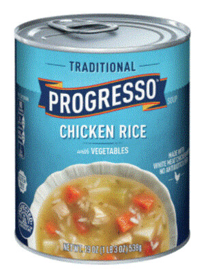 Canned Soup, Progresso® Traditional® Chicken Rice with Vegetables Soup (18.5 oz Can)