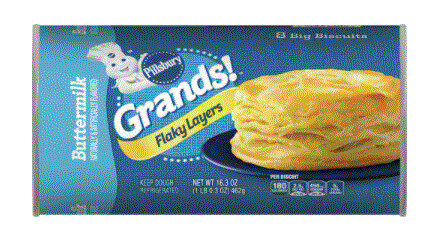 Biscuit Dough, Pillsbury® Grands! Flaky Layers Buttermilk Biscuits (16.3 oz Tube)
