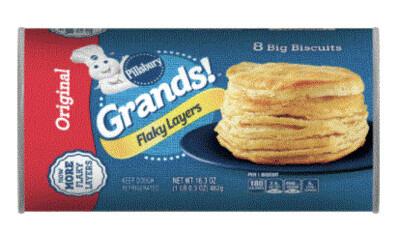 Biscuit Dough, Pillsbury® Grands! Flaky Layers Original Biscuits (16.3 oz Tube)
