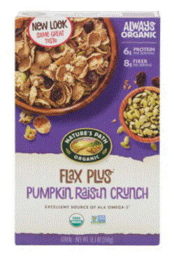 Cereal, Nature's Path® Organic Flax Plus Pumpkin Raisin Crunch Cereal (12.3 oz Box)