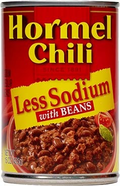 Canned Chili, Hormel® Less Sodium Chili with Beans 15 oz Can
