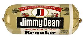 Fresh Ground Sausage, Jimmy Dean® Premium Pork Regular Sausage (16 oz Tube)