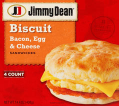 Frozen Breakfast Biscuit, Jimmy Dean® Biscuit with Bacon, Egg & Cheese (4 Count, 18.4 oz Box)