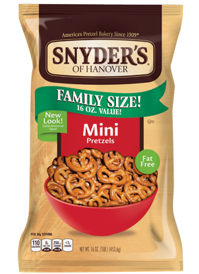 Pretzels, Snyder's® Mini Pretzels, 16 oz Bag