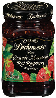 Fruit Spread, Dickinson's® Cascade Mountain™ Red Raspberry Preserves (10 oz Jar)