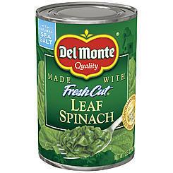 Canned Spinach, Del Monte® Fresh Cut Leaf Spinach (13.5 oz Can)