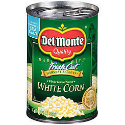 Canned Corn, Corn, Del Monte® Whole Kernel Sweet White Corn (15.25 oz Can)