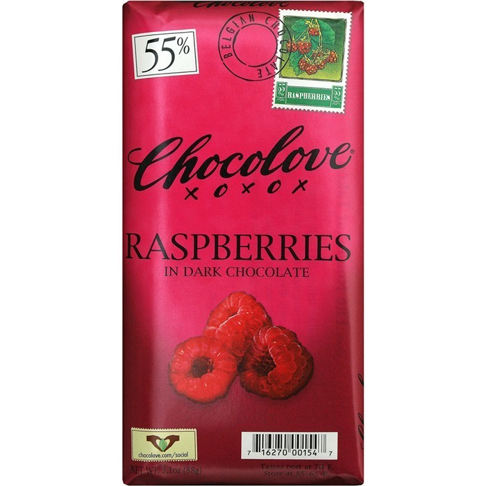 Chocolate Bar, Chocolove XOXOX® Raspberries in Dark Chocolate (3.2 oz Bar)