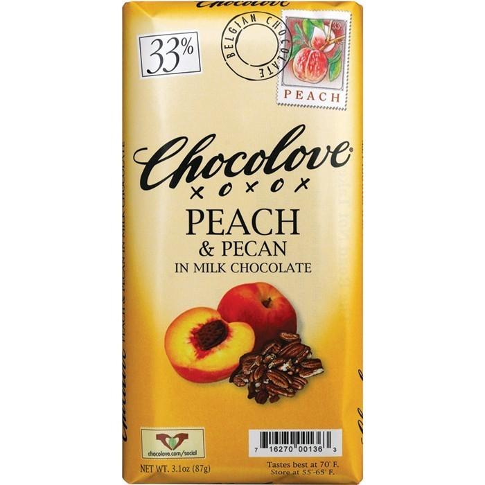 Chocolate Bar, Chocolove XOXOX® Peach and Pecan in Milk Chocolate (3.2 oz Bar)